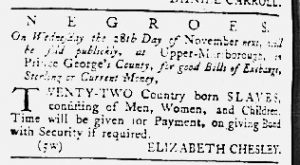 Oct 25 1770 - Maryland Gazette Slavery 1