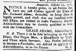 Oct 25 1770 - Maryland Gazette Slavery 3