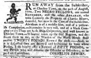 Oct 25 1770 - South-Carolina Gazette Slavery 1