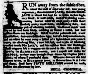 Oct 25 1770 - Virginia Gazette Purdie & Dixon Slavery 2