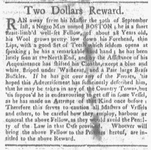 Oct 29 1770 - Boston-Gazette Slavery 1