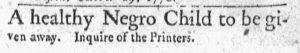 Oct 29 1770 - Massachusetts Gazette and Boston Post-Boy Slavery 1
