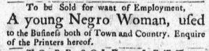 Oct 29 1770 - Massachusetts Gazette and Boston Post-Boy Slavery 2