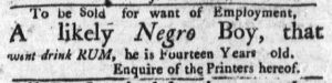 Oct 29 1770 - Massachusetts Gazette and Boston Post-Boy Slavery 4