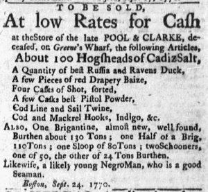 Oct 29 1770 - Massachusetts Gazette and Boston Post-Boy Slavery 5
