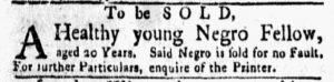 Oct 29 1770 - New-York Gazette and Weekly Mercury Slavery 4
