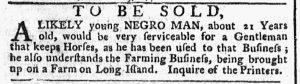 Oct 29 1770 - New-York Gazette or Weekly Post-Boy Slavery 2