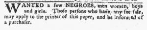 Oct 29 1770 - Pennsylvania Chronicle Slavery 1