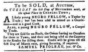 Oct 30 1770 - South-Carolina Gazette and Country Journal Slavery 1