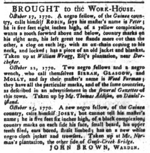 Oct 30 1770 - South-Carolina Gazette and Country Journal Slavery 2