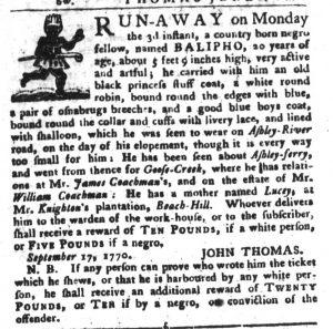 Oct 30 1770 - South-Carolina Gazette and Country Journal Slavery 5