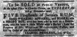 Oct 30 1770 - South-Carolina Gazette and Country Journal Supplement Slavery 3