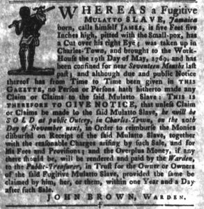 Oct 30 1770 - South-Carolina Gazette and Country Journal Supplement Slavery 4