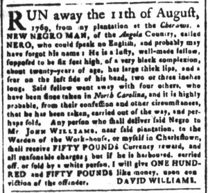 Oct 31 1770 - South-Carolina and American General Gazette Slavery 6
