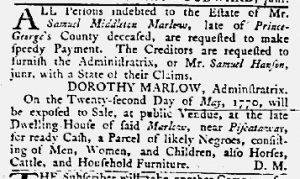 May 10 1770 - Maryland Gazette Slavery 1