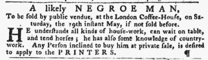 May 10 1770 - Pennsylvania Gazette Slavery 1