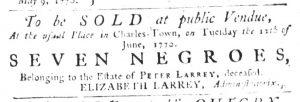 May 10 1770 - South-Carolina Gazette Slavery 1