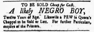 May 11 1770 - New-Hampshire Gazette Slavery 1