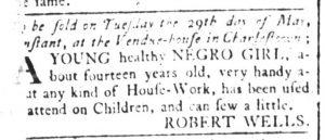 May 11 1770 - South-Carolina and American General Gazette Slavery 1