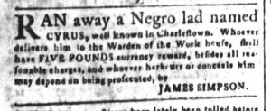 May 11 1770 - South-Carolina and American General Gazette Slavery 9