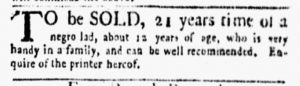 May 14 1770 - New-York Gazette and Weekly Mercury Slavery 2