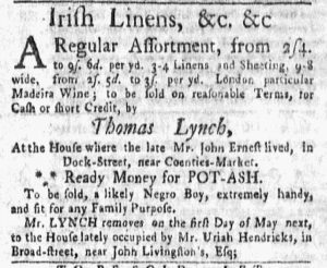 May 14 1770 - New-York Gazette and Weekly Mercury Supplement Slavery 2