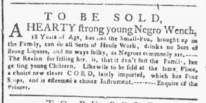 May 14 1770 - New-York Gazette or Weekly Post-Boy Slavery 1