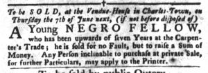 May 15 1770 - South-Carolina Gazette and Country Journal Slavery 1