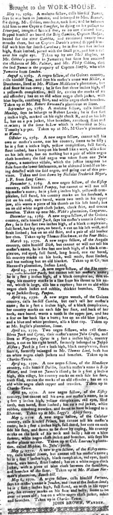 May 15 1770 - South-Carolina Gazette and Country Journal Slavery 3