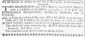 May 16 1770 - Georgia Gazette Slavery 1