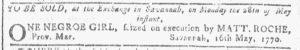 May 16 1770 - Georgia Gazette Slavery 2
