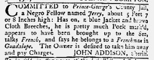 May 17 1770 - Maryland Gazette Slavery 1