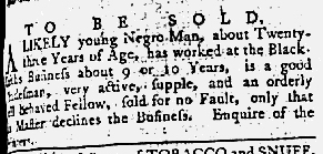 May 31 1770 - Maryland Gazette Supplement Slavery 1