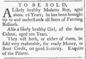 Aug 11 1770 - Providence Gazette Slavery 1