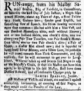 Aug 13 1770 - New-York Gazette and Weekly Mercury Slavery 1