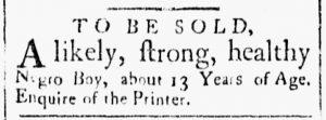 Aug 14 1770 - Essex Gazette Slavery 1