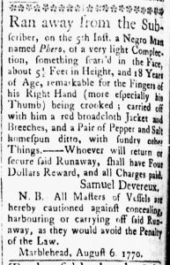 Aug 14 1770 - Essex Gazette Slavery 2