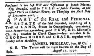Aug 14 1770 - South-Carolina Gazette and Country Journal Slavery 1