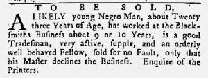 Aug 16 1770 - Maryland Gazette Slavery 1