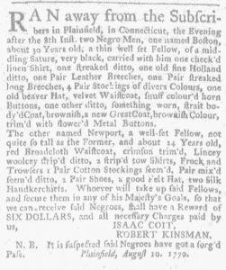 Aug 16 1770 - Massachusetts Gazette and Boston Weekly News-Letter Slavery 1