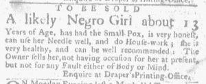 Aug 16 1770 - Massachusetts Gazette and Boston Weekly News-Letter Slavery 2