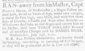 Aug 16 1770 - Massachusetts Gazette and Boston Weekly News-Letter Slavery 4