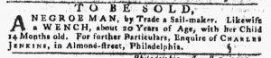 Aug 16 1770 - Pennsylvania Gazette Slavery 1