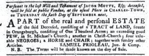 Aug 16 1770 - South-Carolina Gazette Slavery 1