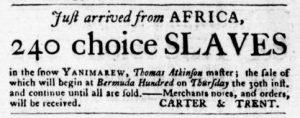 Aug 16 1770 - Virginia Gazette Purdie & Dixon Slavery 1