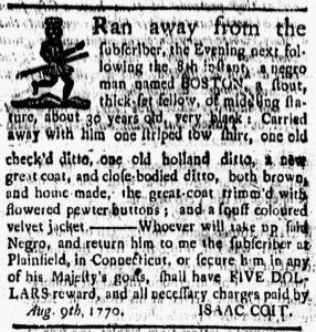 Aug 17 1770 - New-London Gazette Slavery 1