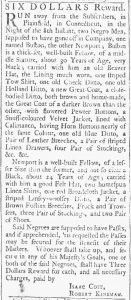 Aug 18 1770 - Providence Gazette Slavery 1
