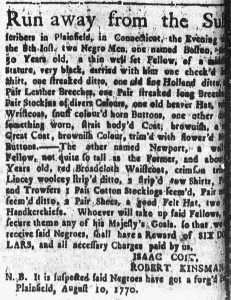 Aug 20 1770 - Connecticut Courant Slavery 1