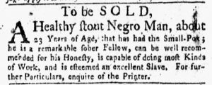 Aug 20 1770 - New-York Gazette and Weekly Mercury Slavery 1
