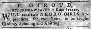 Aug 20 1770 - South-Carolina Gazette Supplement Slavery 1